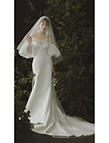cheap -One-tier Cute / Sweet Wedding Veil Chapel Veils / Cathedral Veils with Solid Tulle