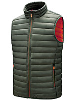 cheap -Men's Vest Gilet Street Daily Fall Winter Regular Coat Zipper Stand Collar Regular Fit Thermal Warm Breathable Casual Jacket Sleeveless Solid Color Quilted Pocket Blue Wine Gray