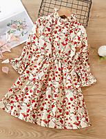 cheap -Kids Little Girls' Dress Flower A Line Dress Daily Print Red Midi Long Sleeve Cute Dresses Fall Winter Regular Fit 2-8 Years