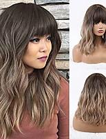 cheap -Short Wigs for Black Women Ombre Dark Blonde Wig with Bangs Synthetic Wavy Bob Wig Short Wavy Black Bob Wig Heat Resistant Fiber Wigs for Women