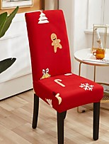 cheap -Christmas Tree Kitchen Chair Cover Slipcover Red Green for Dinning Party Gingerbread Man Four Seasons Universal Super Soft Fabric Retro