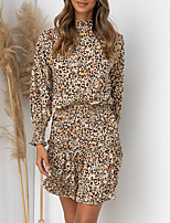 cheap -Women's A Line Dress Short Mini Dress Khaki Long Sleeve Leopard Ruffle Print Fall Turtleneck Casual 2021 S M L XL