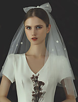 cheap -Two-tier Stylish / Cute Wedding Veil Elbow Veils with Scattered Bead Floral Motif Style Tulle