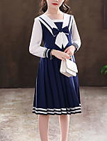 cheap -Kids Little Girls' Dress Butterfly School Daily Pleated Bow Blue Red Cotton Knee-length Long Sleeve Princess Sweet Dresses Back to School Fall Winter Regular Fit 3-12 Years