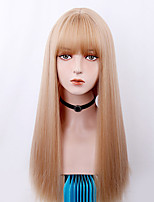 cheap -Long Straight Hair Wig Linen Gold / Brown / Black With Bangs Anime Cosplay Synthetic Heat-Resistant Wig for Women.
