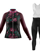 cheap -21Grams Women's Long Sleeve Cycling Jersey with Bib Tights Summer Spandex Polyester Black 3D Floral Botanical Funny Bike Clothing Suit 3D Pad Quick Dry Moisture Wicking Breathable Back Pocket Sports