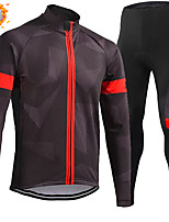 cheap -CAWANFLY Men's Long Sleeve Cycling Jersey with Tights Winter Coffee Bike Thermal Warm Sports Geometic Road Bike Cycling Clothing Apparel / Micro-elastic / Athleisure