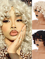 cheap -Short Afro Kinky Curly Wig For Black Women Ombre Brown Synthetic Cosplay Wigs With Bangs Heat Resistant African Wigs