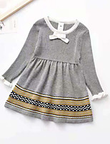 cheap -Toddler Little Girls' Dress Solid Colored Sweater Jumper Dress Daily Print Gray Red Navy Blue Knee-length Long Sleeve Cute Dresses Fall Winter Regular Fit 2-6 Years
