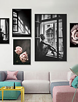 cheap -Wall Art Canvas Prints Painting Artwork Picture Floral People Black White Home Decoration Dcor Rolled Canvas No Frame Unframed Unstretched