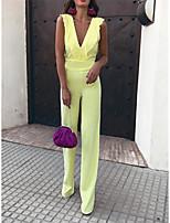 cheap -Jumpsuits Beautiful Back Minimalist Party Wear Wedding Guest Dress V Neck Sleeveless Floor Length Spandex with Sleek Ruffles 2021