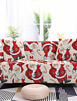 cheap -Santa Claus Printed Stretch Sofa Cover Slipcover Elastic Sectional Couch Furniture Protector Fit Armchair Loveseat 4 or 3 seater for Christmas Decoration Holiday Decor