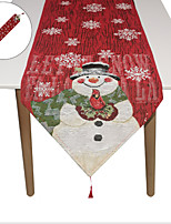 cheap -new christmas 2021 christmas table runner cotton and linen snowman embroidery table runner family table decoration christmas tablecloth