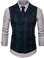 cheap -Men's Vest Waistcoat Dailywear Leisure Striped Double Breasted Loose Polyester Men's Suit Green - V Neck