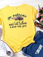 cheap -Women's Halloween T shirt Bear Letter Animal Print Round Neck Basic Tops Regular Fit 100% Cotton Yellow Blushing Pink Army Green