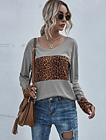 cheap -Women's Painting T shirt Color Block Leopard Long Sleeve Patchwork Print Round Neck Basic Tops Regular Fit Yellow Wine Gray