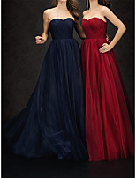 cheap -A-Line Minimalist Elegant Wedding Guest Formal Evening Dress Strapless Sleeveless Floor Length Tulle with Pleats 2021