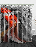 cheap -Beautiful fish Printed Waterproof Fabric Shower Curtain Bathroom Home Decoration Covered Bathtub Curtain Lining Including hooks.
