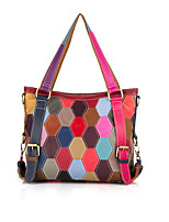 cheap -Women's Bags Cowhide Top Handle Bag Zipper Color Block Date Going out 2021 Handbags Rainbow