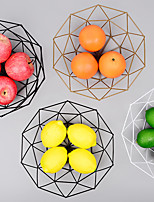 cheap -Metal Fruit Basket Wrought Iron Fruit Tray Nordic Ins Style Home Storage Supplies Snack Storage Basket Geometric Storage Basket