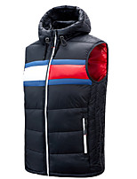 cheap -Men's Vest Gilet Street Daily Fall Winter Regular Coat Zipper Hoodie Regular Fit Thermal Warm Breathable Casual Jacket Sleeveless Color Block Quilted Drawstring Blue Wine Ocean Blue / Pocket