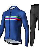 cheap -21Grams Men's Long Sleeve Cycling Jersey with Tights Summer Spandex Blue Bike Quick Dry Moisture Wicking Sports Horizontal Stripes Mountain Bike MTB Road Bike Cycling Clothing Apparel / Stretchy