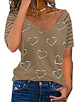 cheap -womens bling love print short sleeve v neck t shirt lady casual basic tee tops loose blouse khaki