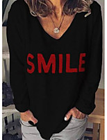 cheap -alphabet v-neckline long sleeve casual t-shirts