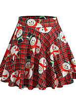 cheap -Santa Suit Skirt Masquerade Adults' Women's Cute Christmas Christmas New Year Christmas Carnival Festival / Holiday Spandex Polyester Red Women's Easy Carnival Costumes Plaid Checkered Graphic Prints