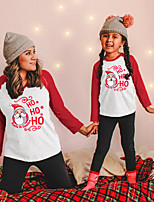 cheap -Christmas Tops Family Look Santa Claus Letter Daily Print Red Adorable Matching Outfits / Fall