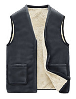 cheap -Men's Vest Gilet Street Daily Going out Fall Winter Regular Coat Regular Fit Thermal Warm Windproof Casual Jacket Sleeveless Solid Color Pocket Dark Grey Black