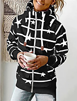 cheap -Women's Jacket Street Daily Fall Winter Regular Coat Regular Fit Warm Casual Jacket Long Sleeve Floral Striped Full Zip Pocket White Black