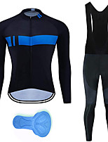 cheap -21Grams Men's Long Sleeve Cycling Jersey with Bib Tights Spandex Black Stripes Bike Quick Dry Moisture Wicking Sports Stripes Mountain Bike MTB Road Bike Cycling Clothing Apparel / Stretchy