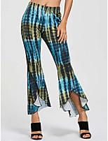 cheap -Women's Fashion Streetwear Comfort Chinos Daily Weekend Pants Color Block Tie Dye Ankle-Length Wide Leg Elastic Waist Print Blue