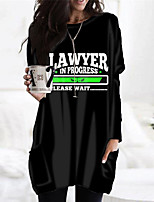 cheap -Women's Shift Dress Short Mini Dress White Black Long Sleeve Print Letter Pocket Print Fall Winter Round Neck Casual 2021 S M L XL XXL 3XL