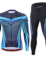 cheap -21Grams Men's Long Sleeve Cycling Jersey with Tights Spandex Purple Blue Bike Quick Dry Moisture Wicking Sports Graphic Mountain Bike MTB Road Bike Cycling Clothing Apparel / Stretchy / Athletic
