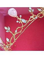 cheap -Baroque Princess Crown Bride Pink Resin Flower Headdress Wedding Crown Korean Wedding Hair Accessories