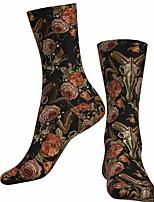cheap -Socks Cycling Socks Men's Women's Bike / Cycling Breathable Soft Comfortable 1 Pair Floral Botanical Cotton Black S M L / Stretchy