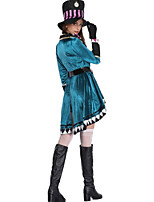 cheap -Magic Women Cosplay Costume Adults' Women's Halloween Halloween Halloween Festival / Holiday Polyster Green Women's Easy Carnival Costumes Checkered / Gingham / Hat