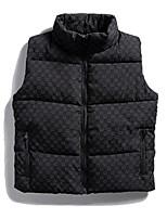 cheap -Men's Down Gilet Daily Fall Winter Regular Coat Zipper Stand Collar Regular Fit Thermal Warm Casual Jacket Sleeveless Print Print White Black