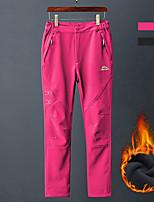 cheap -Women's Fleece Lined Pants Hiking Pants Trousers Softshell Pants Patchwork Winter Outdoor Regular Fit Thermal Warm Waterproof Windproof Fleece Lining Pants / Trousers Black Rose Red Fishing Climbing