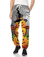 cheap -Men's Fashion Halloween Breathable Sports Pants Sweatpants Casual Daily Pants Pumpkin Full Length Elastic Drawstring Design Print Grey