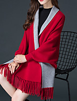 cheap -Long Sleeve Elegant Imitation Cashmere Party Evening / Wedding Party Women's Wrap With Tassel / Color Block