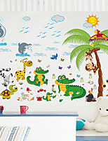 cheap -children's room wall stickers boy bedroom baby room wall cartoon green little crocodile removable stickers