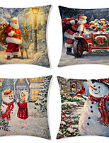 cheap -Christmas Santa Claus Holiday Party Double Side Cushion Cover 4PC Soft Decorative Square Throw Pillow Cover Cushion Case Pillowcase for Bedroom Livingroom Superior Quality Machine Washable Indoor Cushion for Sofa Couch Bed Chair