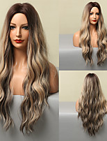 cheap -HAIR CUBE Long Curly Wave Brown Highlights Blonde Hair Wigs Natural Synthetic Wig for Women Cosplay Party Hair Heat Resistant