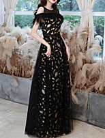 cheap -A-Line Glittering Elegant Party Wear Formal Evening Dress Jewel Neck Sleeveless Floor Length Tulle Sequined with Sequin Tassel 2021