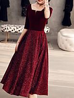 cheap -A-Line Minimalist Princess Homecoming Cocktail Party Dress Scoop Neck Half Sleeve Tea Length Velvet with Pleats 2021