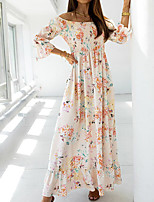 cheap -Women's A Line Dress Maxi long Dress Blue Black Beige 3/4 Length Sleeve Floral Split Print Fall Summer Off Shoulder Casual Regular Fit 2021 S M L XL XXL 3XL