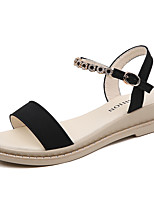 cheap -Women's Sandals Flat Heel Open Toe Daily Office Suede Buckle Sequin Solid Colored Almond Army Green Black